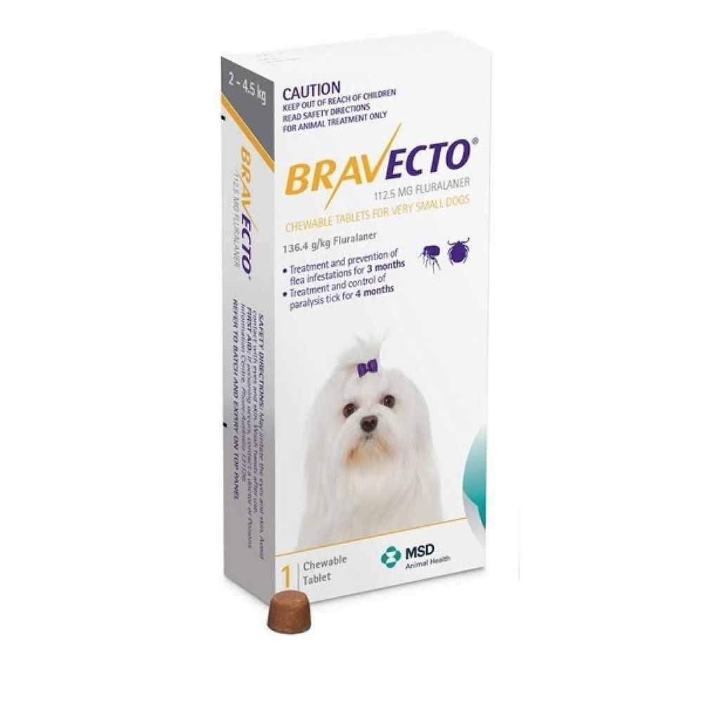 Bravecto 2-4,5 kg - rágótabletta nagyon kistestű kutyák számára