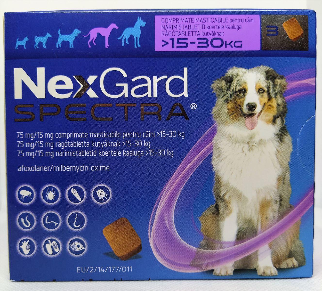 NexGard Spectra 15-30kg - kullancs, bolha és férgek elleni rágótabletta nagytestű kutyák számára