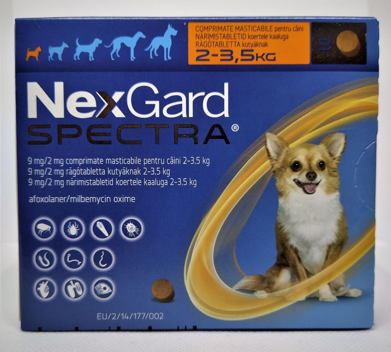 NexGard Spectra 2-3,5kg - kullancs, bolha és férgek elleni rágótabletta kistestű kutyák számára