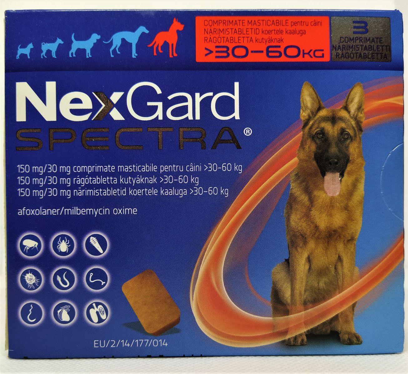 NexGard Spectra 30-60kg - kullancs, bolha és férgek elleni rágótabletta óriás testű kutyák számára