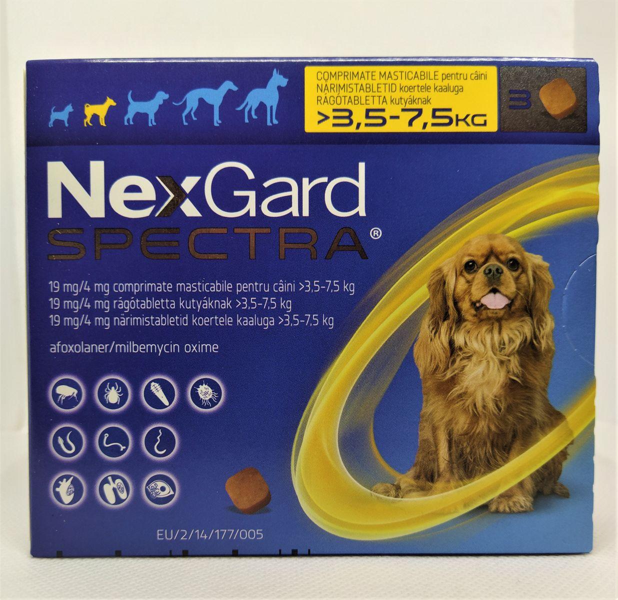 NexGard Spectra 3,5-7,5kg - kullancs, bolha és férgek elleni rágótabletta kutyák számára