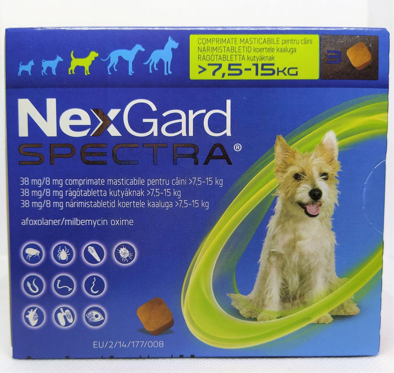 NexGard Spectra 7,5-15kg - kullancs, bolha és férgek elleni rágótabletta közepes testű kutyák számára
